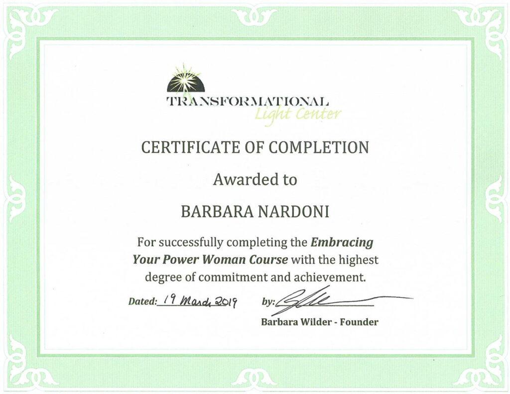 Embracin your power woman Certificate