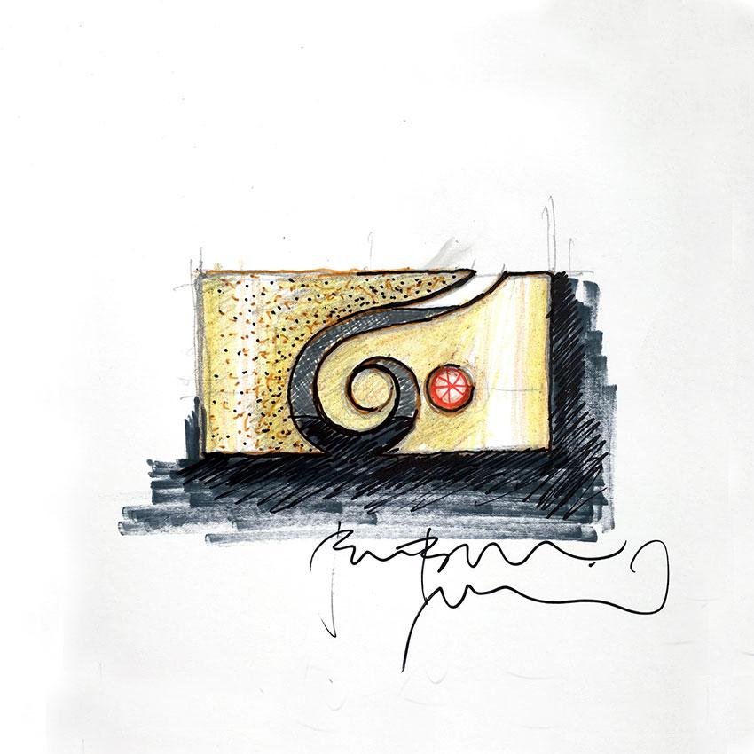 Skica-zlat-prstan-spirala-granat